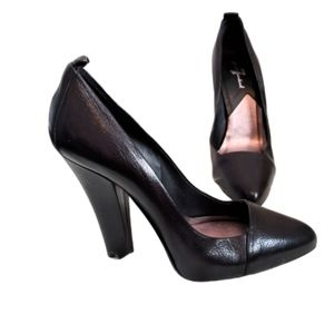 7 for All Mankind black leather pumps